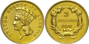 1870-S Three Dollar Gold Piece coin