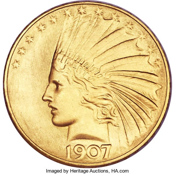 1907 Satin Proof Indian $10 Gold Eagle Coin