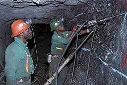 miners digging  with modern tools