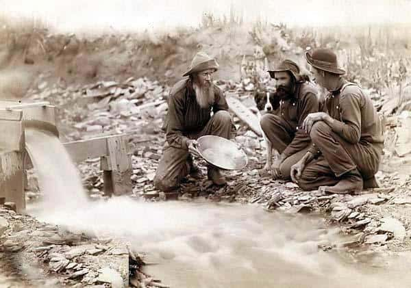 three men Panning FOR GOLD